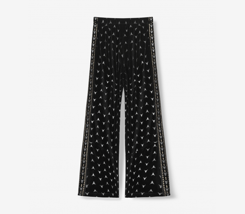 EMBELLISHED VELVET PANTS