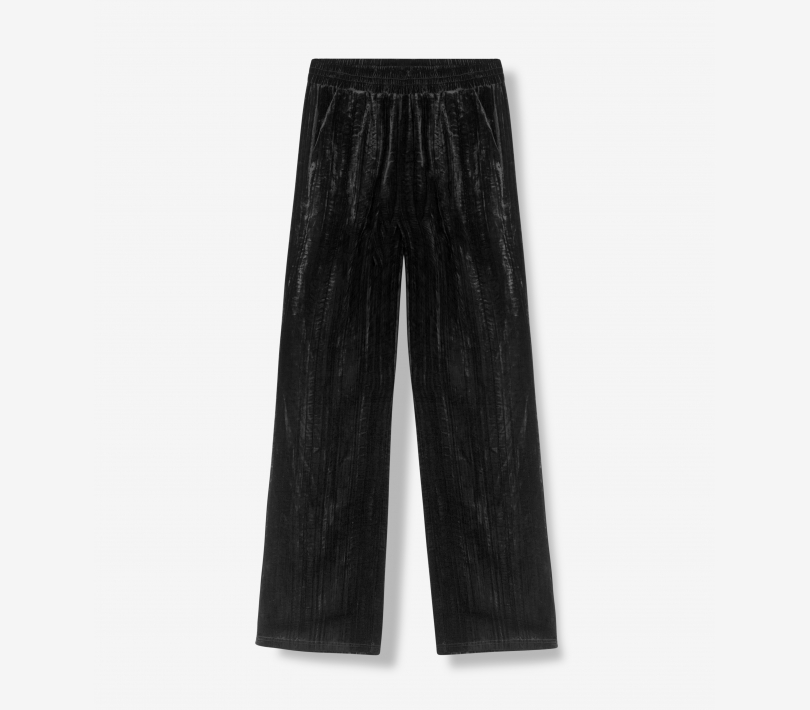 CRINKLED VELVET PANTS