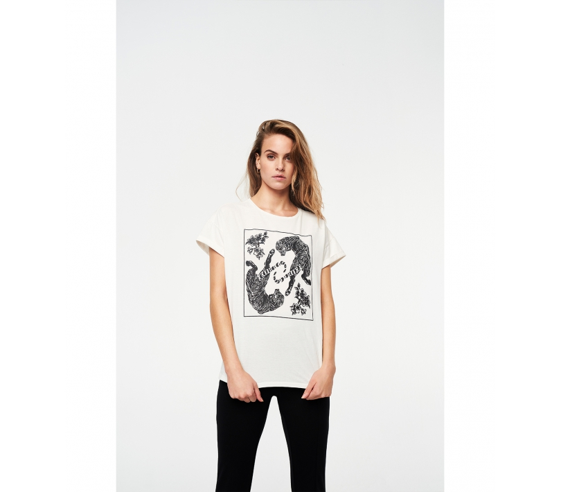 Washed tiger t-shirt creamy white ALIX The Label
