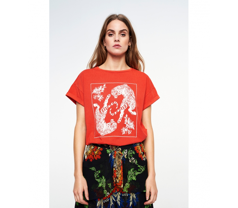 Washed tiger t-shirt bright red ALIX The Label