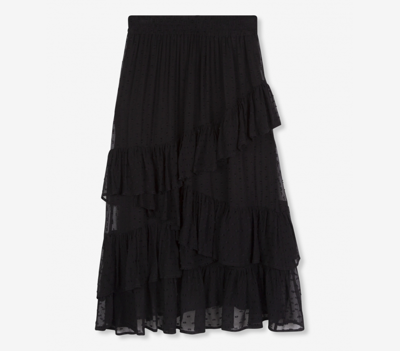 Dot chiffon skirt black ALIX The Label