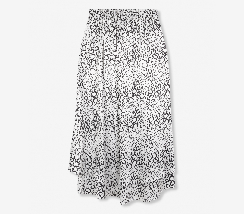 Graphic animal satin long skirt soft white ALIX The Label