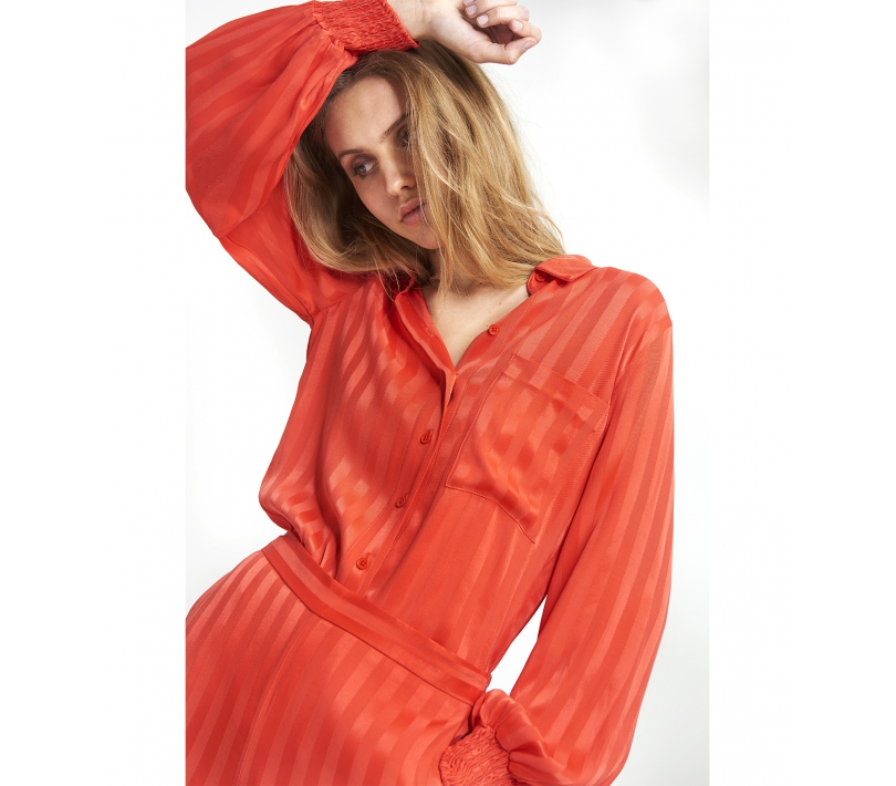 Stripe viscose blouse soft coral ALIX The Label