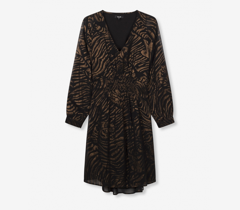 Tiger chiffon dress black ALIX The Label