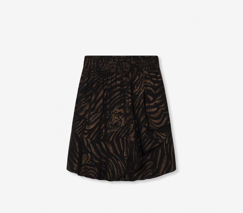 Ruffle tiger chiffon skirt black ALIX The Label