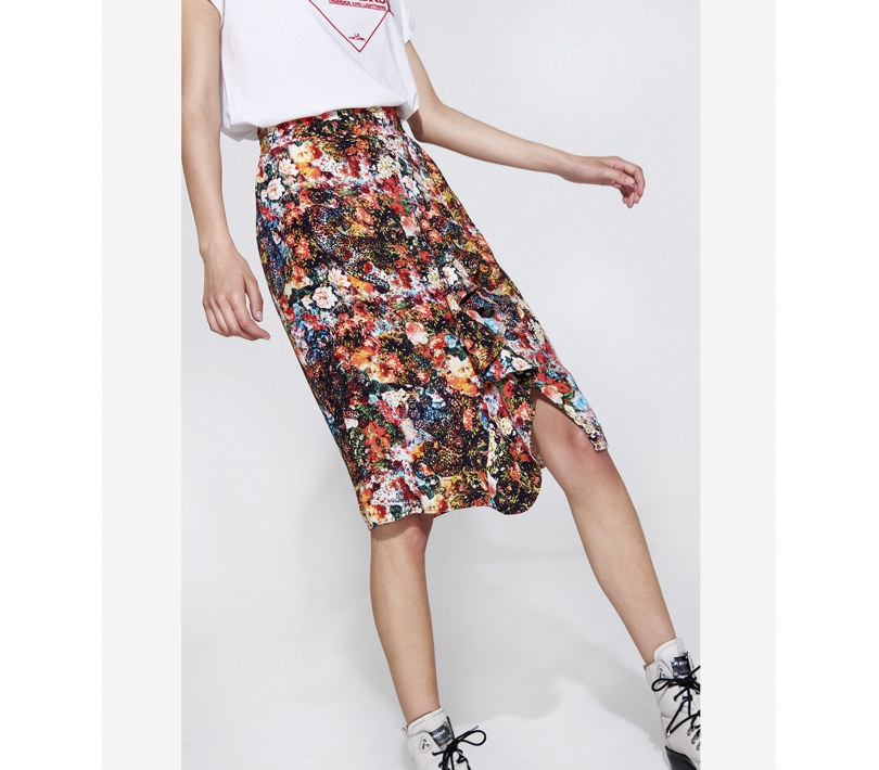 Flower leopard skirt fierce coral ALIX The Label
