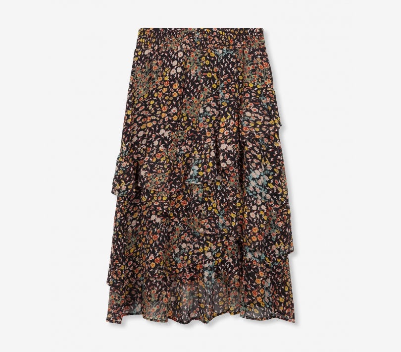 Ditsy lightning chiffon long skirt black ALIX The Label