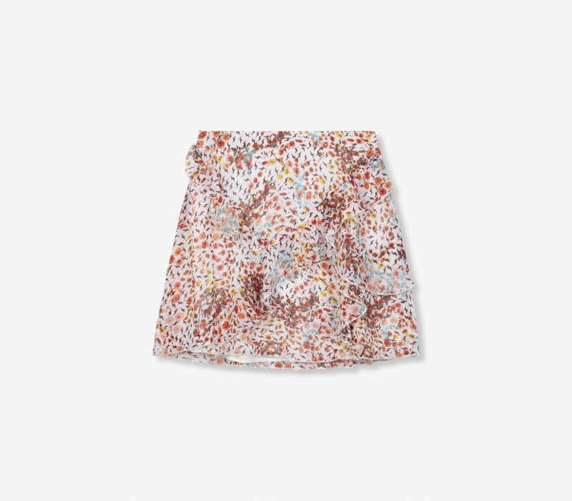 Ditsy lightning chiffon short skirt soft white ALIX The Label