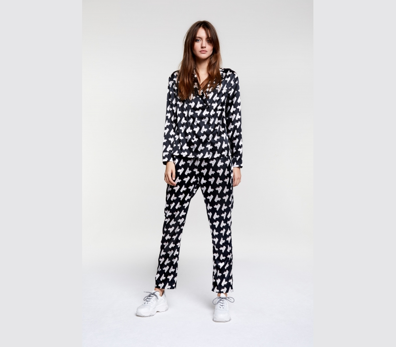 Printed satin pajama blouse black ALIX The Label
