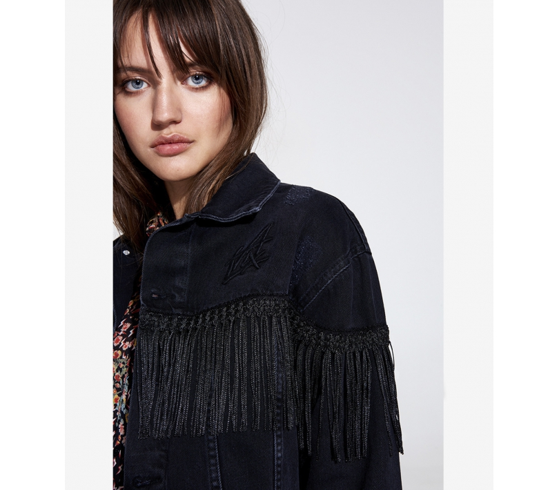 Denim jacket with fringes black ALIX The Label