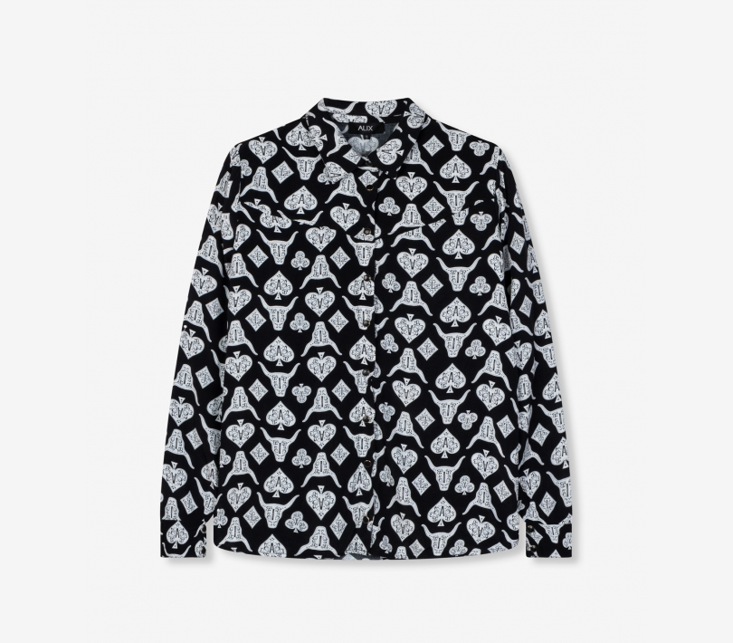 Playing cards blouse black ALIX The Label