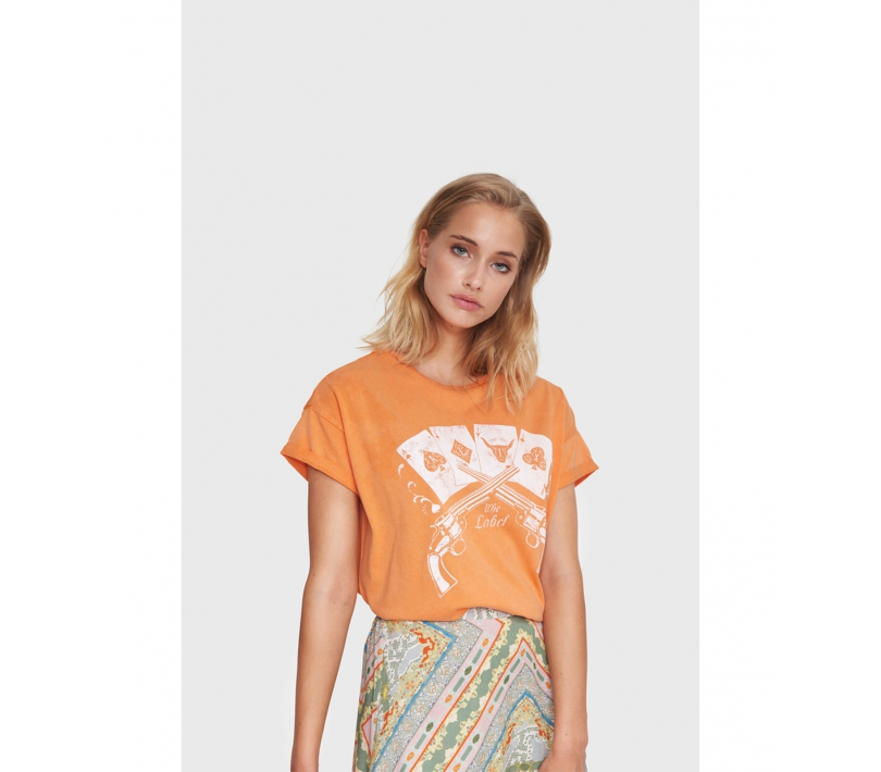 Vintage playing cards t-shirt soft orange ALIX The Label