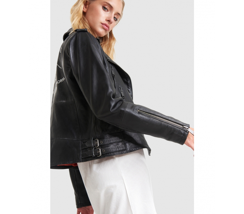 Washed leather jacket black ALIX The Label