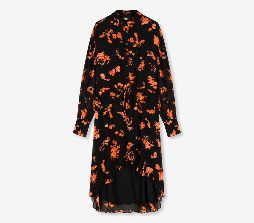 Flowers chiffon dress black ALIX The Label