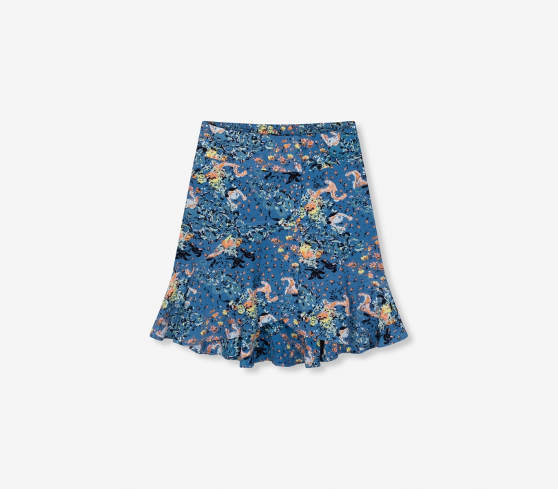 Volant western flower skirt sapphire blue ALIX The Label