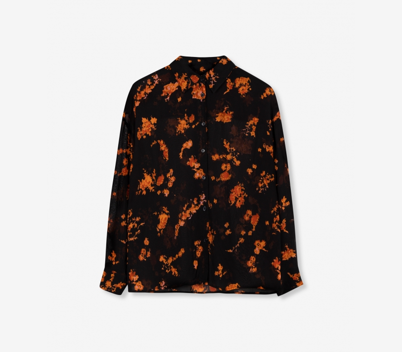 Flowers chiffon blouse black ALIX The Label