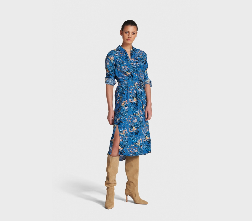 Western flower tunic dress sapphire blue ALIX The Label