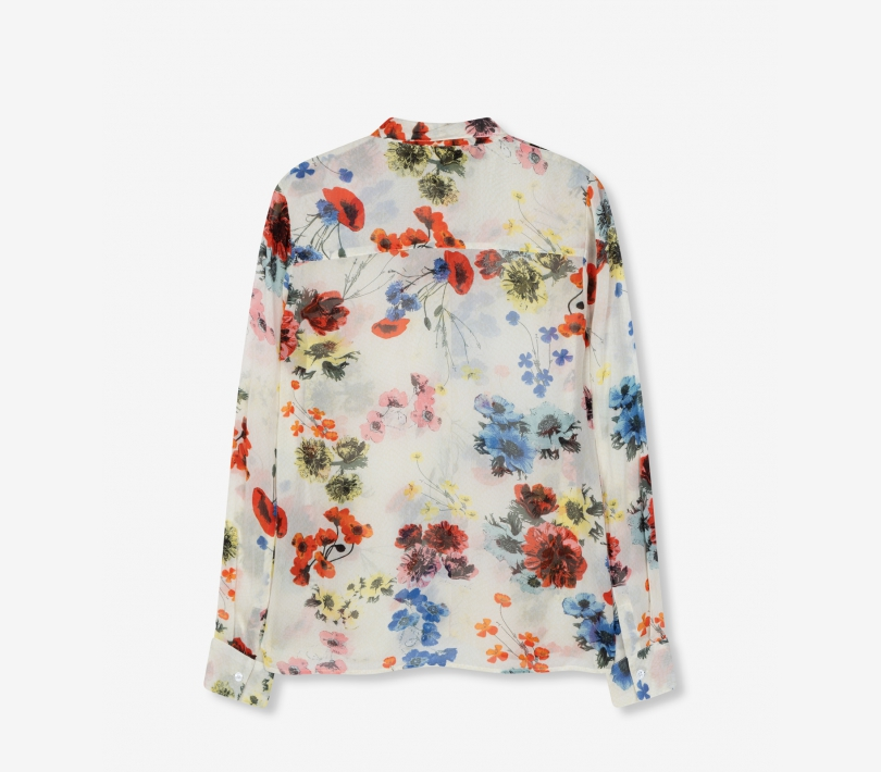 Flower chiffon blouse soft white ALIX The Label