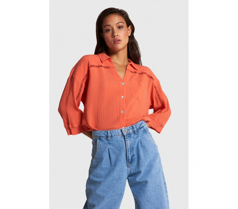 Crinkle blouse bright peach ALIX The Label