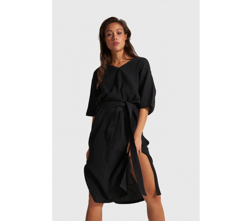 Crinkle tunic dress black ALIX The Label