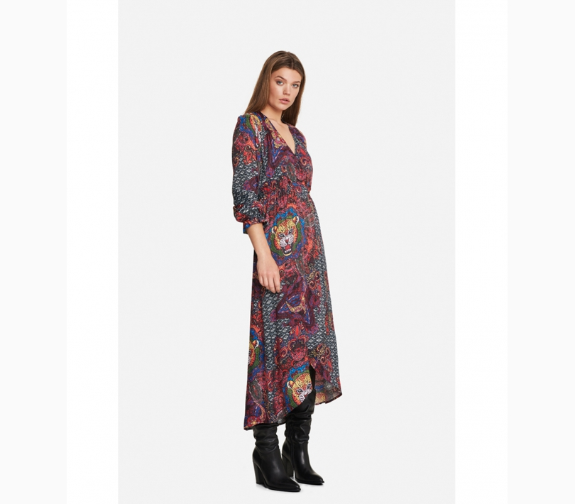 Ethnic satin long dress multi colour ALIX The Label