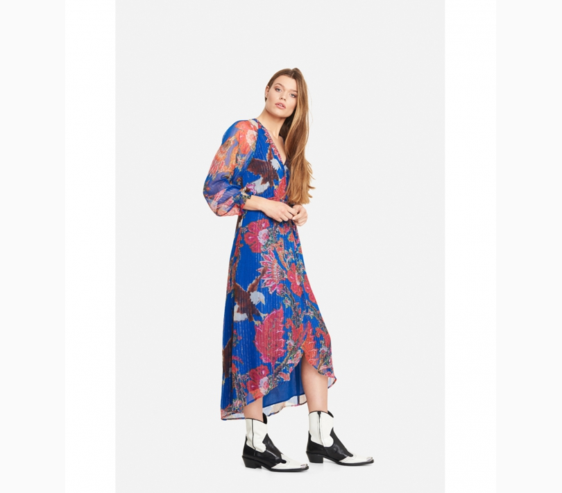 Flower lurex long dress intense blue ALIX The Label