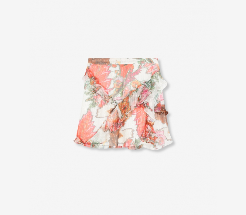 Flower lurex chiffon skirt soft white ALIX The Label