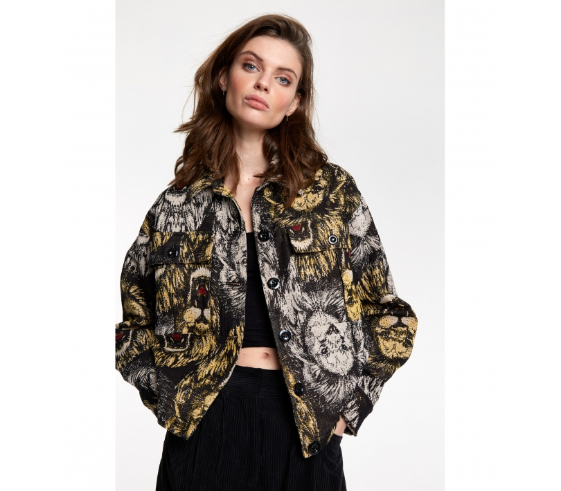 Lion jacquard jacket black ALIX The Label