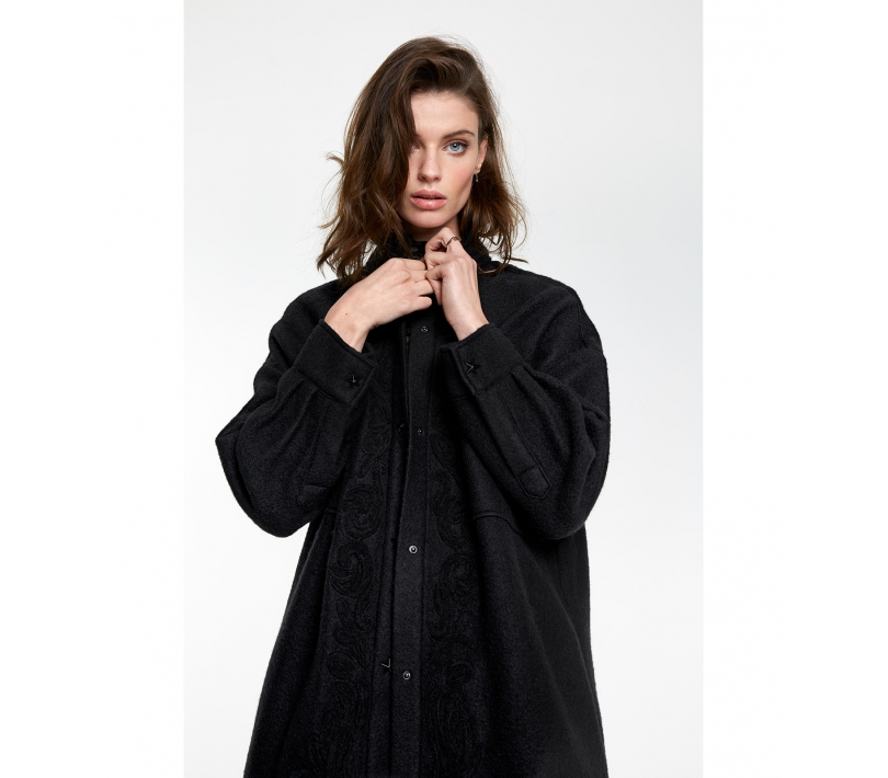 Embroidered wool jacket black ALIX The Label