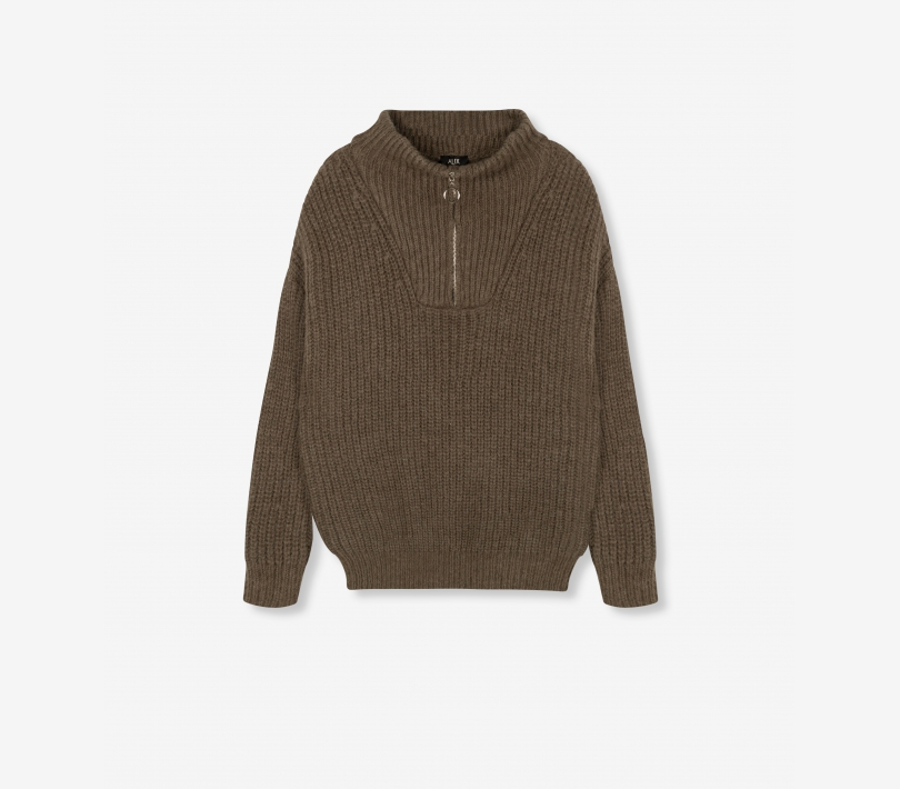 Pullover with zip dark olive ALIX The Label