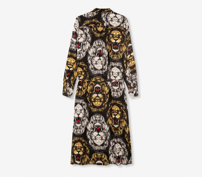 Oversized lion blouse dress black ALIX The Label