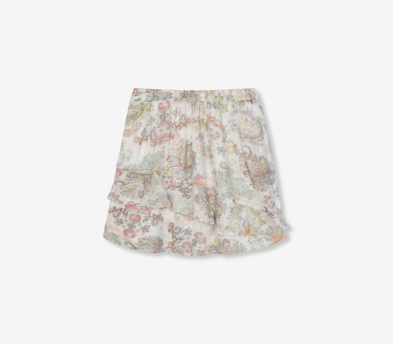 Short paisley chiffon skirt soft white ALIX The Label