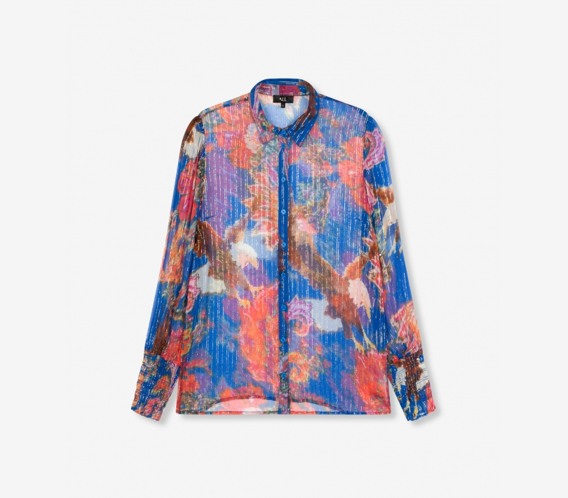 Flower lurex blouse intense blue ALIX The Label