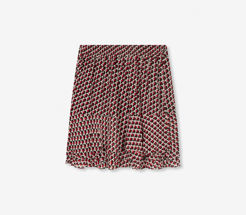 Graphic star chiffon skirt warm red ALIX The Label