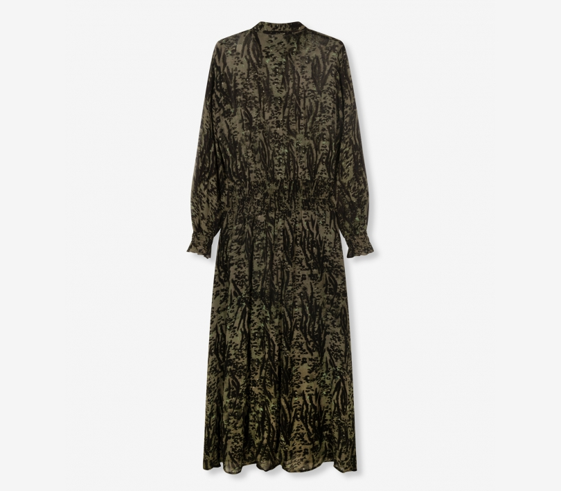 Animal maxi dress dark olive ALIX The Label