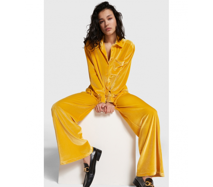 Wide leg velvet pants honey yellow ALIX The Label