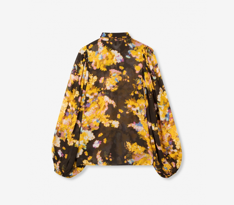 Big flower chiffon blouse honey yellow ALIX The Label