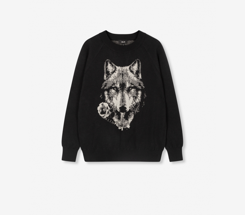 Pullover with wolves jacquard black ALIX The Label