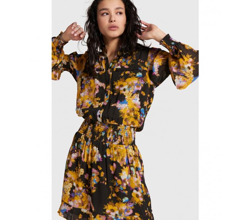 ALIX ladies woven big flower chiffon dress – honey yellow