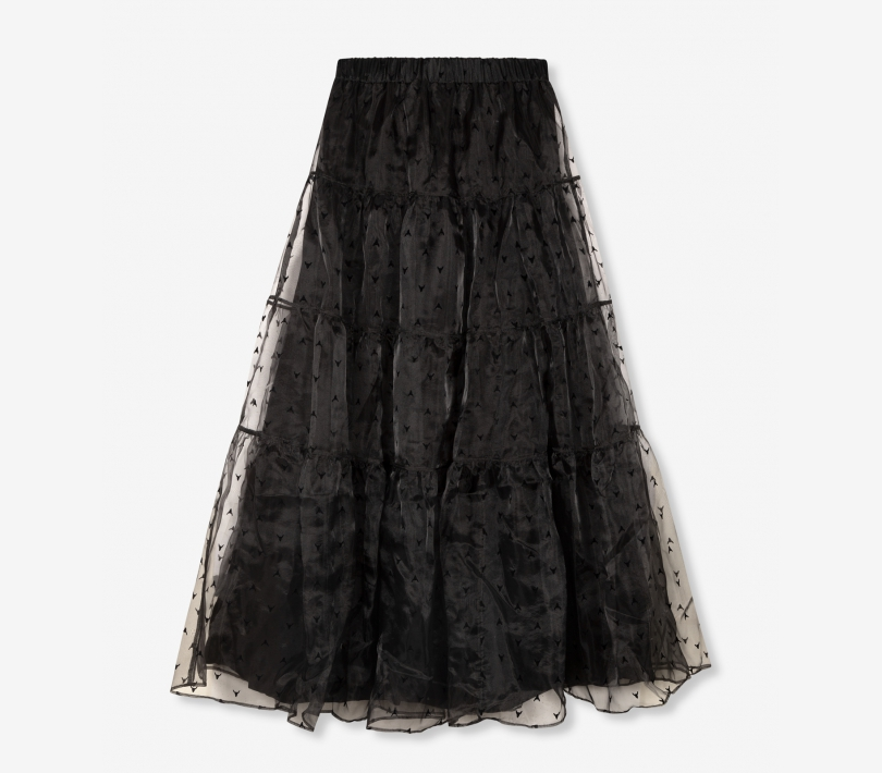 Wide organza full length skirt black ALIX The Label