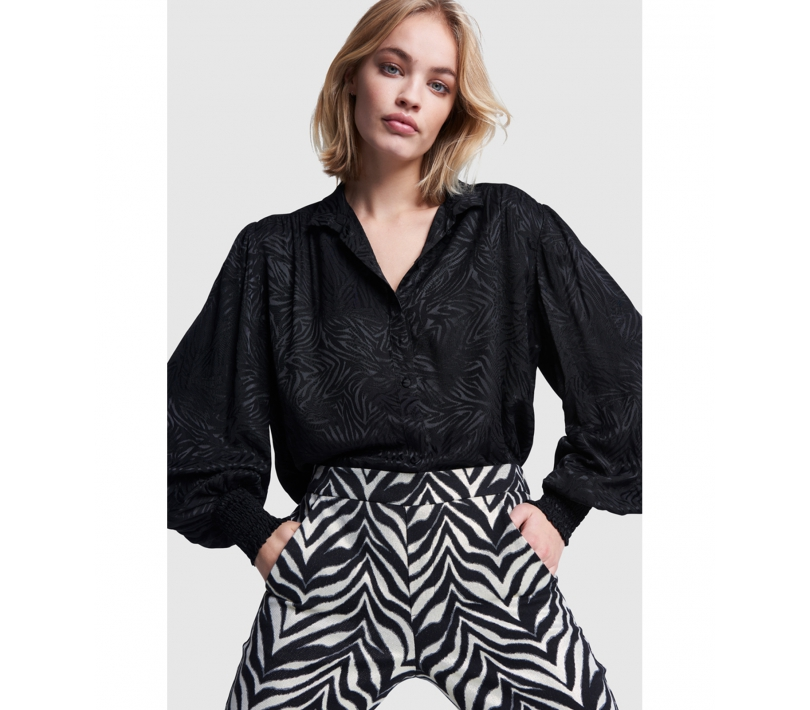 Zebra jacquard blouse black ALIX The Label