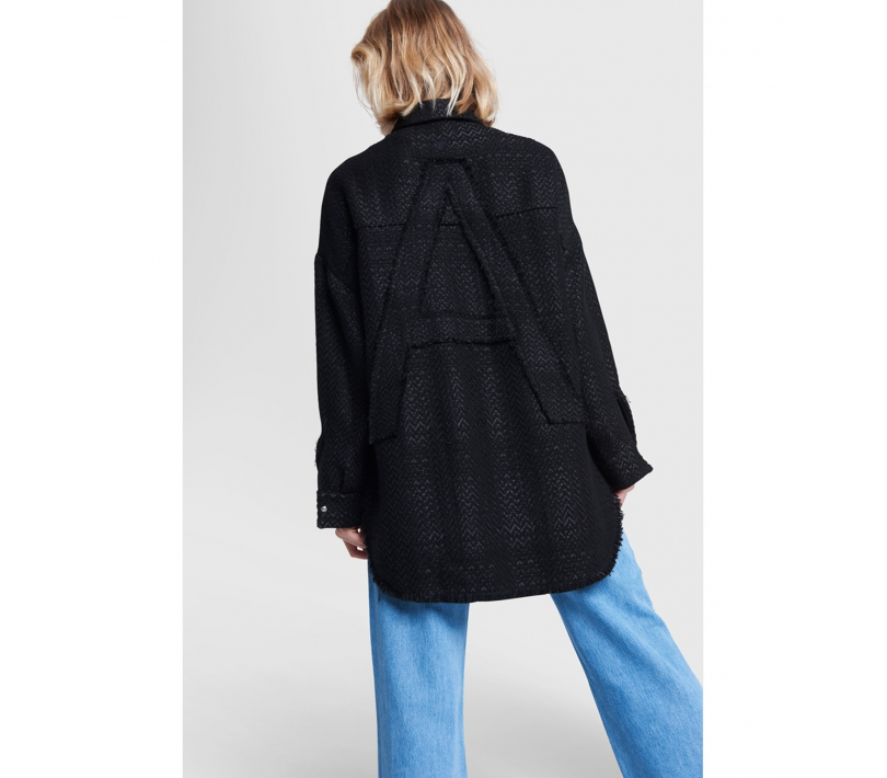 Oversized shiny boucle jacket black ALIX The Label