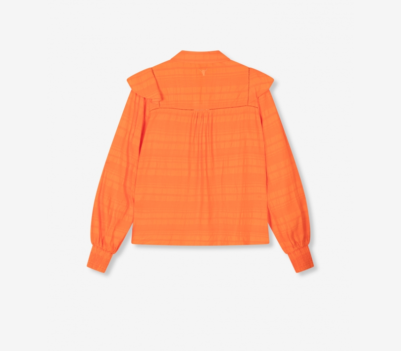 Seer sucker stripe top tangerine ALIX The Label