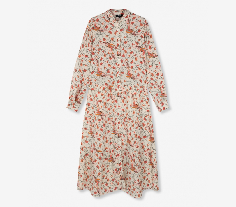 Floral a-line mid dress creamy white ALIX The Label
