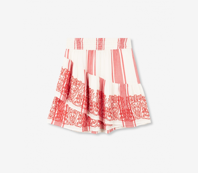 Stripe ruffle skirt soft white ALIX The Label