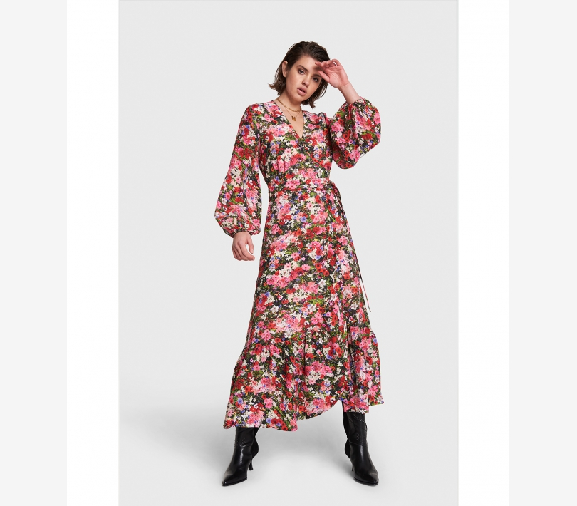 Flower explosion maxi wrap dress multi colour ALIX The Label
